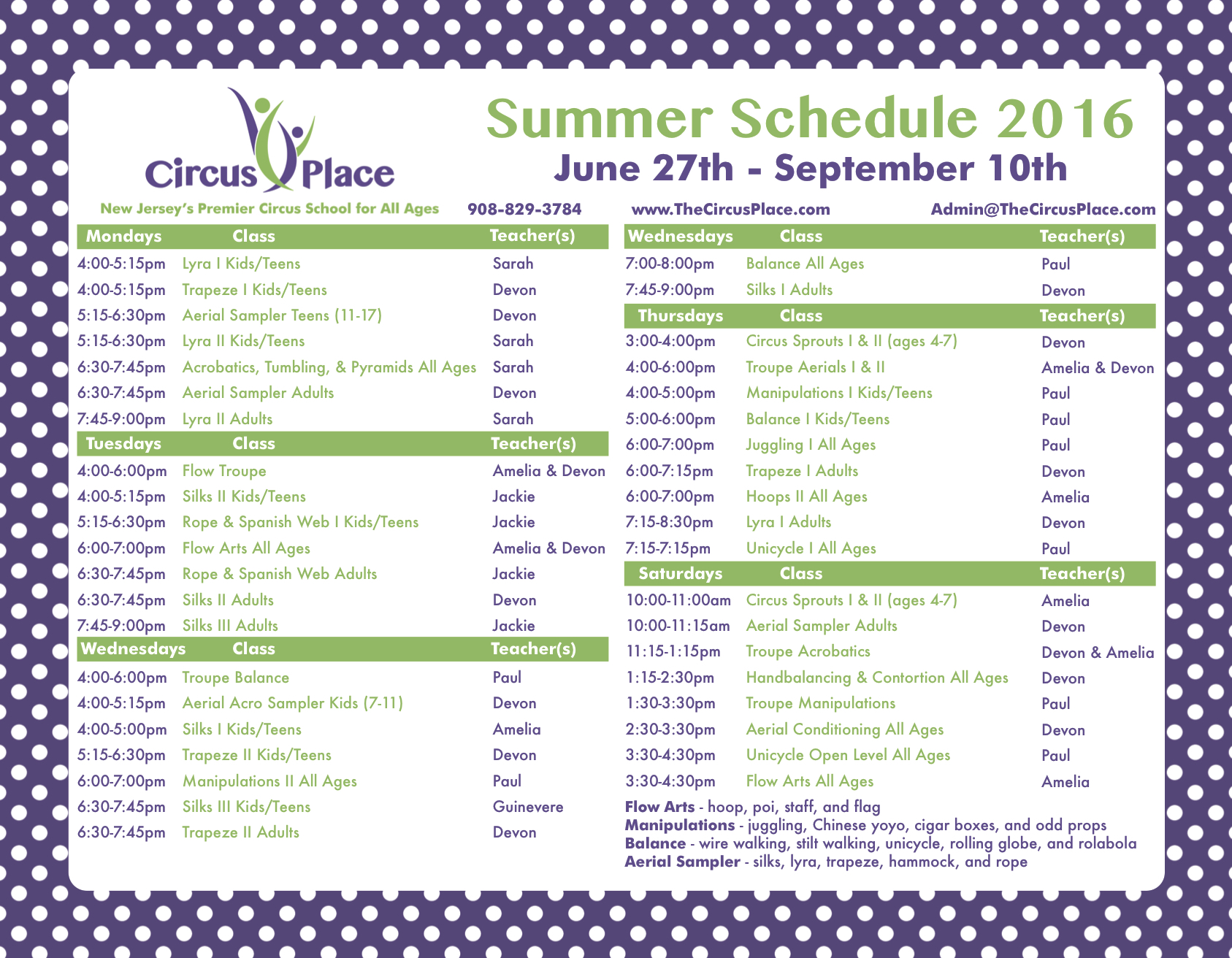 Circus Place Summer Schedule 2016 V3